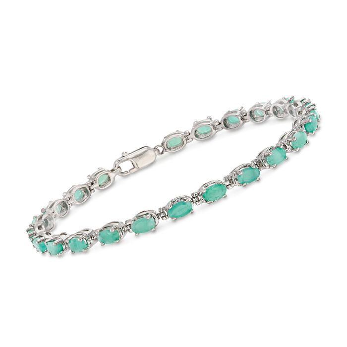 """4.90 ct. t.w. Emerald Bracelet in Sterling Silver. 8"""", , default"""