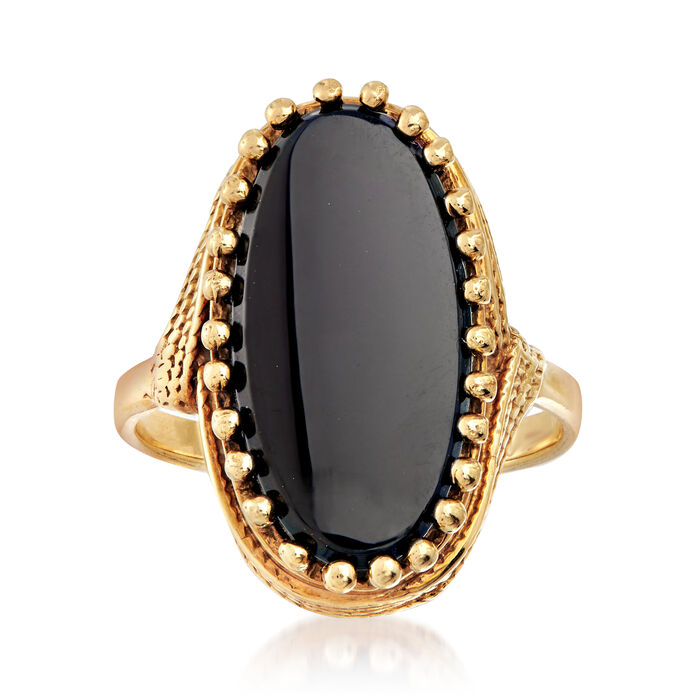 C. 1970 Vintage Black Onyx Ring in 10kt Yellow Gold. Size 6, , default