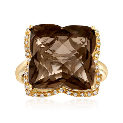 C. 1990 Vintage 10.25 Carat Smoky Quartz and .15 ct. t.w. Diamond Ring in 14kt Yellow Gold, , default