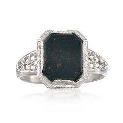C. 1950 Vintage Bloodstone Floral Openwork Ring in 14kt White Gold. Size 7, , default