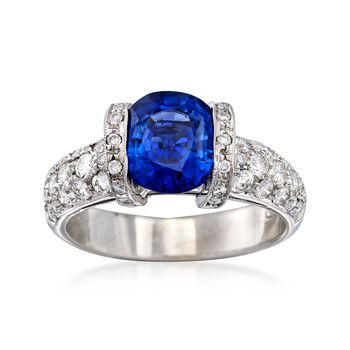 C. 2000 Vintage 2.30 Carat Sapphire and .75 ct. t.w. Diamond Ring in 18kt White Gold. Size 6, , default