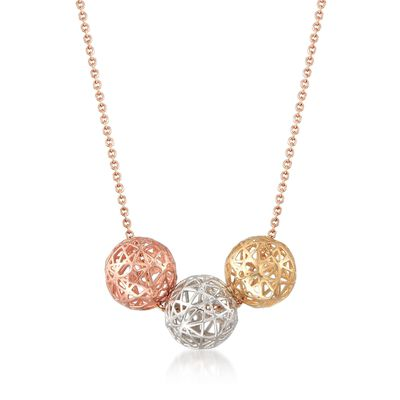 14kt Tri-Colored Gold Openwork Ball Trio Necklace, , default