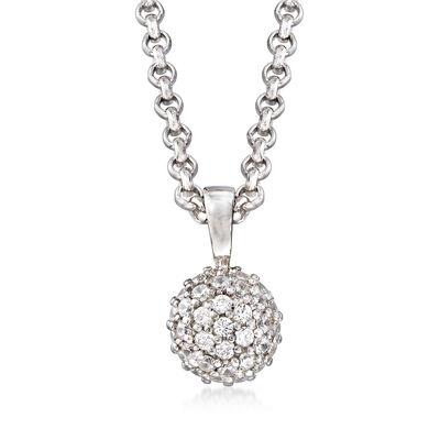 """Belle Etoile """"Lunetta"""" .15 ct. t.w. CZ Pendant in Sterling Silver"""