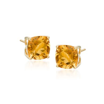 4.00 ct. t.w. Citrine Stud Earrings in 14kt Yellow Gold, , default
