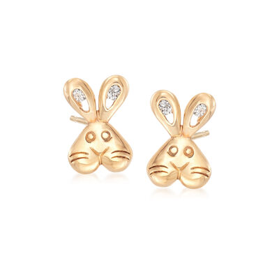 14kt Yellow Gold CZ-Accented Bunny Stud Earrings, , default