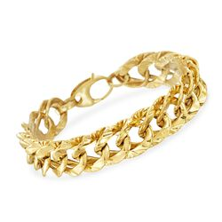 "Italian 14kt Yellow Gold Twisted Oval Link Bracelet. 8"", , default"