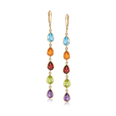 10.00 ct. t.w. Multi-Gem Drop Earrings in 14kt Yellow Gold, , default