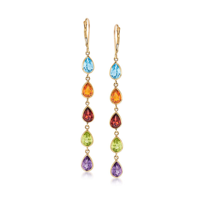 10.00 ct. t.w. Multi-Gem Drop Earrings in 14kt Yellow Gold, , default