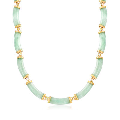C. 1980 Vintage Jade Section Necklace in 14kt Yellow Gold