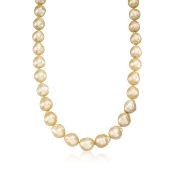 8-12mm Champagne Cultured South Sea Pearl Necklace With Diamond Accents and 14kt Yellow Gold, , default
