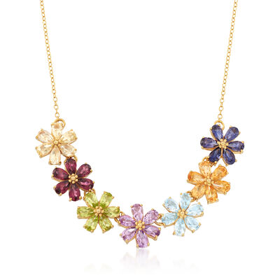 6.90 ct. t.w. Multi-Stone Flower Necklace in 18kt Gold Over Sterling, , default