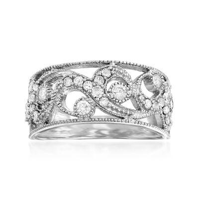 .50 ct. t.w. Diamond Swirl Openwork Ring in Sterling Silver