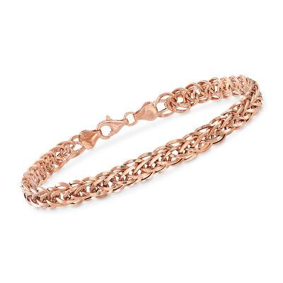 18kt Rose Gold Wheat-Link Bracelet, , default