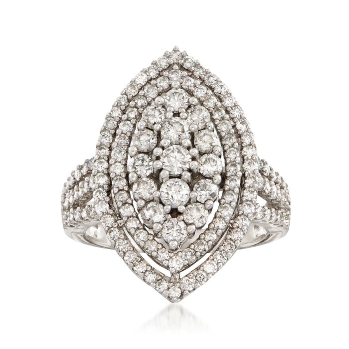 C. 1980 Vintage 2.30 ct. t.w. Diamond Navette Cluster Ring in 14kt White Gold. Size 7, , default