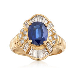 C. 1990 Vintage 1.96 Carat Sapphire and .58 ct. t.w. Diamond Ring in 14kt Yellow Gold. Size 5.5, , default
