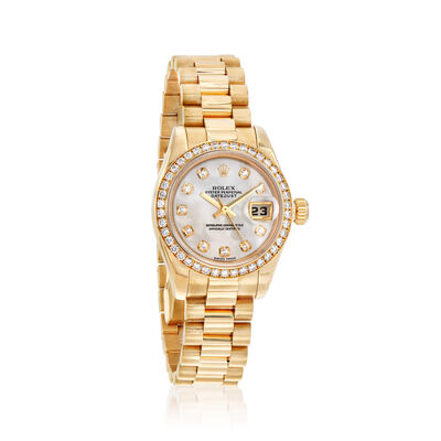 Pre-Owned Rolex Datejust Women's Mother-Of-Pearl and Diamond 26mm Automatic 18kt Yellow Gold Watch, , default