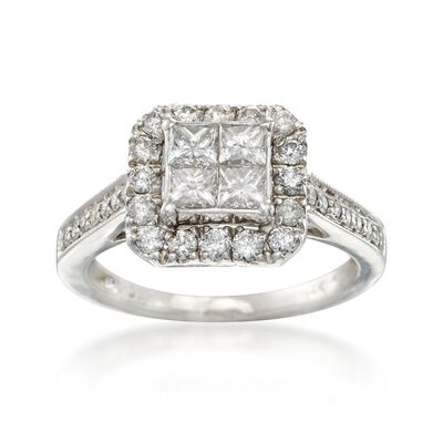 C. 1990 Vintage 1.15 ct. t.w. Princess-Cut and Round Diamond Ring in 14kt White Gold, , default