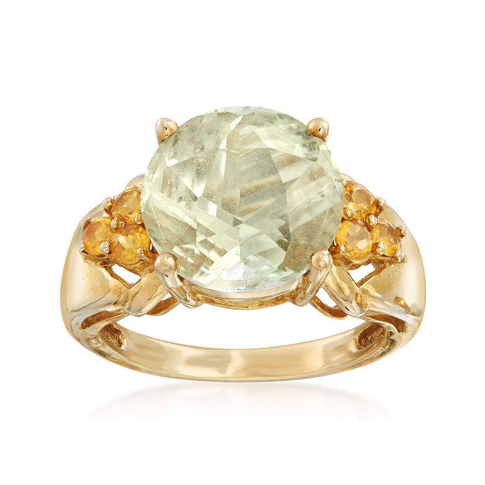 C. 1990 Vintage 5.50 Carat Green Prasiolite and .50 ct. t.w. Citrine Ring in 10kt Yellow Gold. Size 7, , default