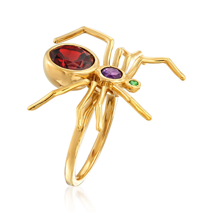 2.50 Carat Garnet and .20 Carat Amethyst Spider Ring with Tsavorite Accent in 18kt Gold Over Sterling