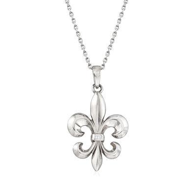 Italian Sterling Silver Fleur-De-Lis Necklace, , default