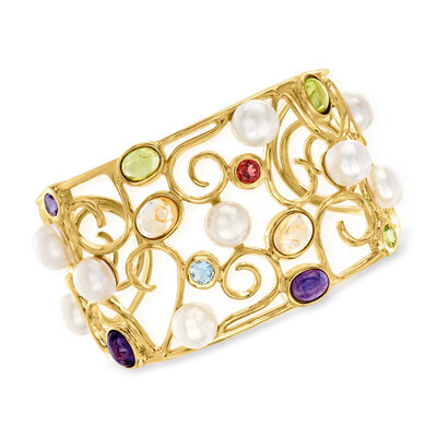 9mm Cultured Pearl and 13.60 ct. t.w. Multi-Stone Swirl Cuff Bracelet in 18kt Gold Over Sterling