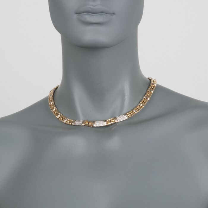 "C. 1990 Vintage 1.10 ct. t.w. Pave Diamond Station Link Necklace in 18kt Yellow Gold. 16.5"", , default"