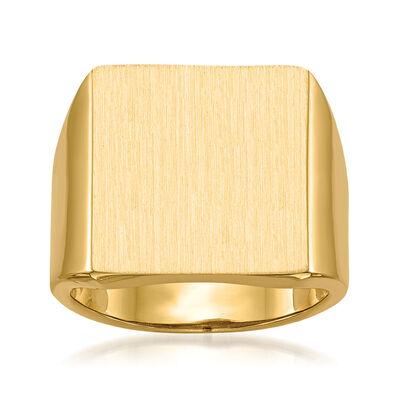 Men's 14kt Yellow Gold Square Signet Ring, , default