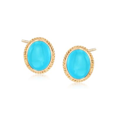 Oval Turquoise Earrings in 14kt Yellow Gold, , default