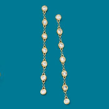 1.00 ct. t.w. Diamond Bezel-Set Linear Drop Earrings in 14kt Yellow Gold