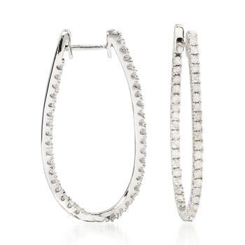 """1.00 ct. t.w. Diamond Elongated Inside-Outside Hoop Earrings in 14kt White Gold. 1 1/8"""", , default"""