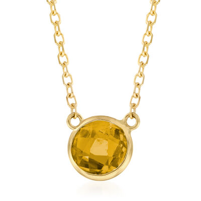 .90 Carat Yellow Citrine Necklace in 14kt Yellow Gold