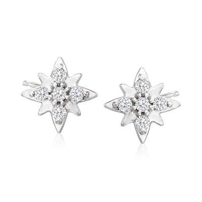 Diamond-Accented Star Stud Earrings in Platinum