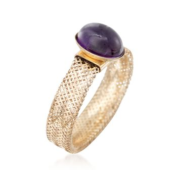 Italian 1.10 Carat Amethyst Mesh Ring in 14kt Yellow Gold. Medium (7-8), , default