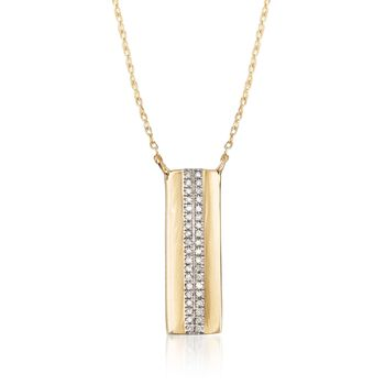 14kt Yellow Gold Rectangle Drop Necklace With Diamond Accents, , default