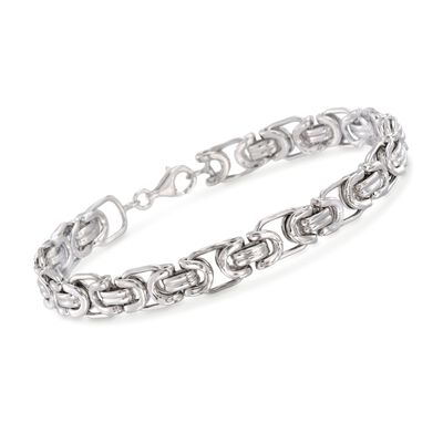 Men's Sterling Silver Byzantine Box Link Bracelet, , default