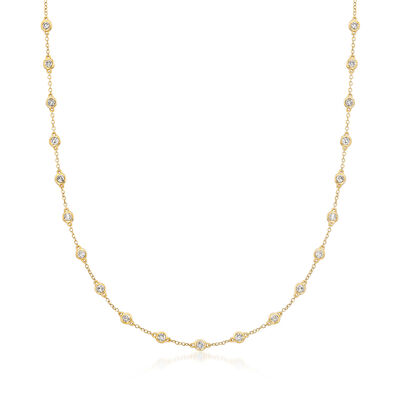 2.00 ct. t.w. Bezel-Set Diamond Station Necklace in 14kt Yellow Gold, , default