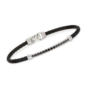"ALOR ""Burano"" Black Onyx Black Cable Bracelet With 14kt White Gold. 7"", , default"