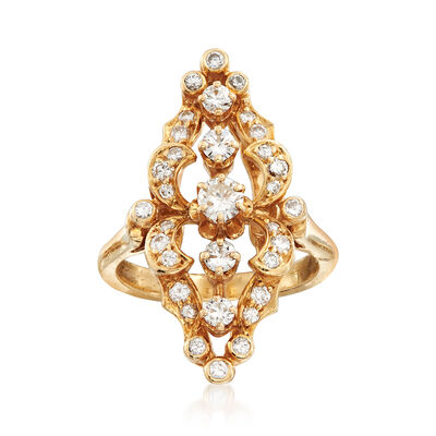 C. 1970 Vintage 1.00 ct. t.w. Diamond Navette Ring in 14kt Yellow Gold, , default