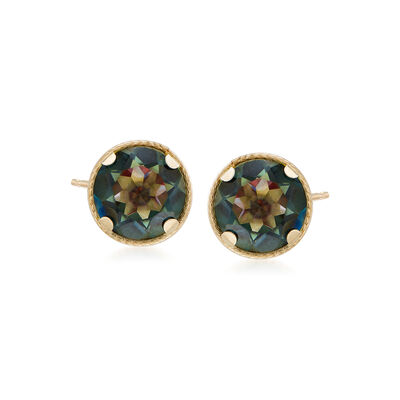 2.20 ct. t.w. Mystic Green Quartz Stud Earrings in 14kt Yellow Gold, , default
