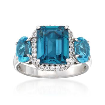 4.30 ct. t.w. London and Swiss Blue Topaz and .30 ct. t.w. White Zircon Ring in Sterling Silver, , default