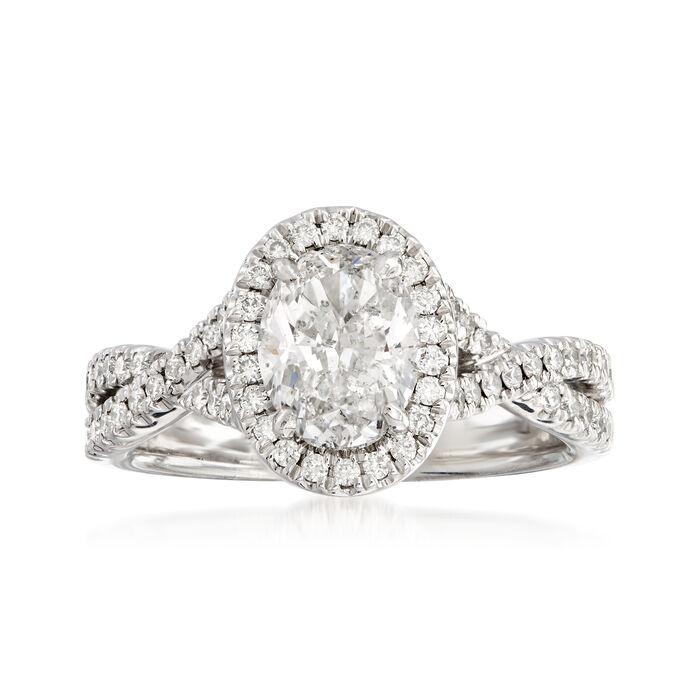 Henri Daussi 1.66 ct. t.w. Diamond Engagement Ring in 18kt White Gold, , default