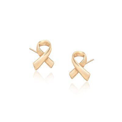 18kt Yellow Gold Ribbon Stud Earrings, , default