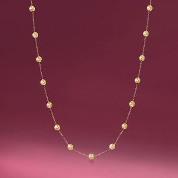 6mm 14kt Yellow Gold Bead Station Necklace, , default