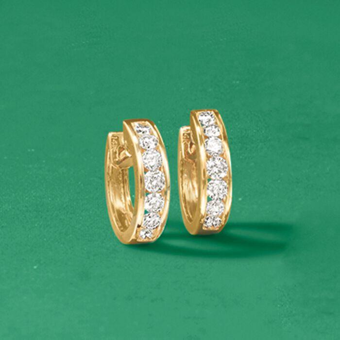 1.00 ct. t.w. Channel-Set Diamond Half Hoop Earrings in 14kt Yellow Gold