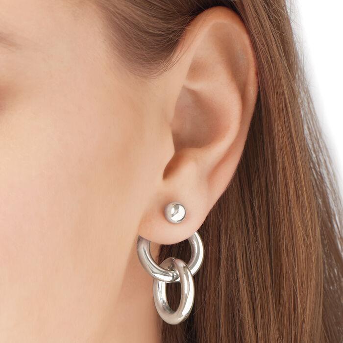 Italian Sterling Silver Interlocking-Circle Front-Back Earrings