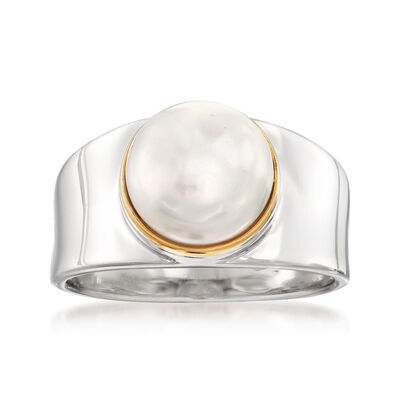 9.5-10mm Cultured Pearl Ring in Sterling Silver with 14kt Gold