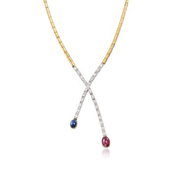 """C. 1970 Vintage 2.00 Carat Ruby and 1.05 Carat Sapphire Necklace With Diamonds in 18kt Two-Tone Gold. 15.5"""", , default"""