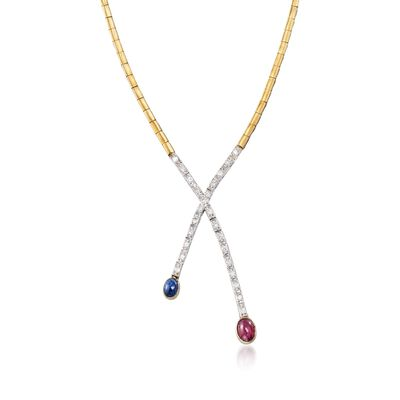 C. 1970 Vintage 2.00 Carat Ruby and 1.05 Carat Sapphire Necklace with Diamonds in 18kt Two-Tone Gold, , default
