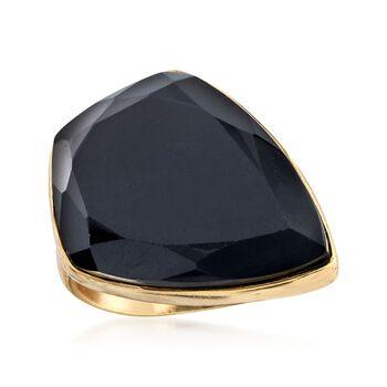 Kite-Shaped Black Onyx Ring in 18kt Gold Over Sterling, , default