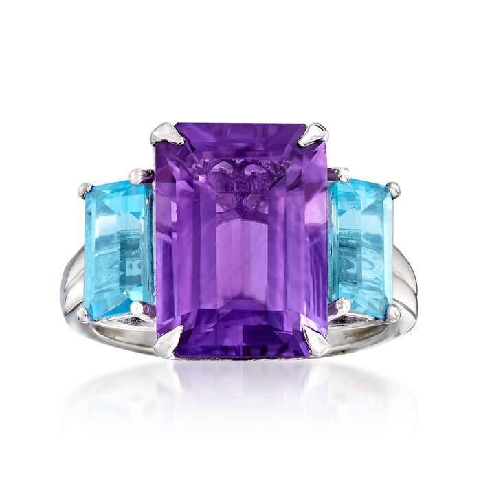 4.80 Carat Amethyst and 1.80 ct. t.w. Swiss Blue Topaz Ring in Sterling Silver